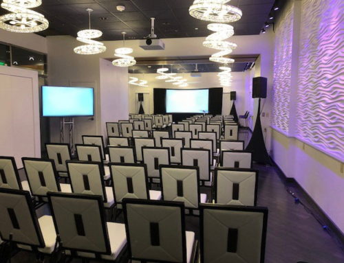 Hotel room breakout session with screens, projectors and staging