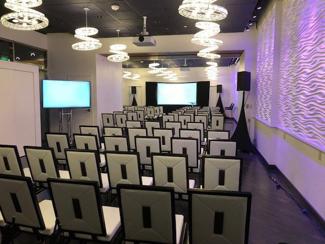 displays and lighting design at a hotel conference room