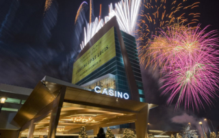 casino exterior with fireworks in the background