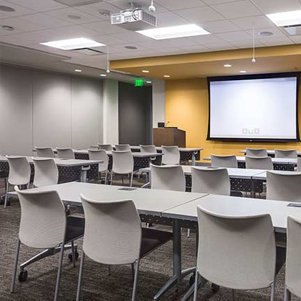 college classroom with audio visual equipment