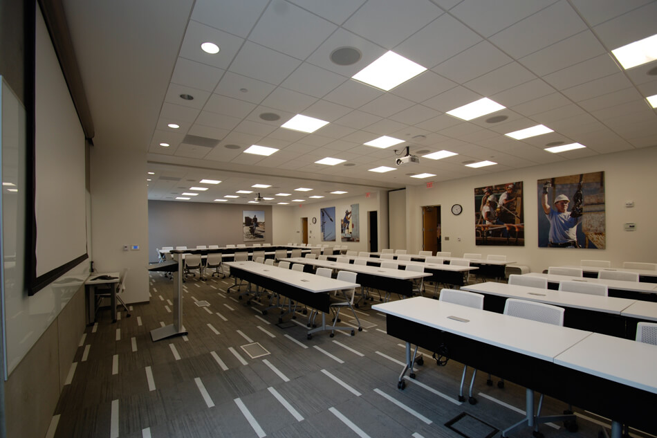 classroom with a projector screen