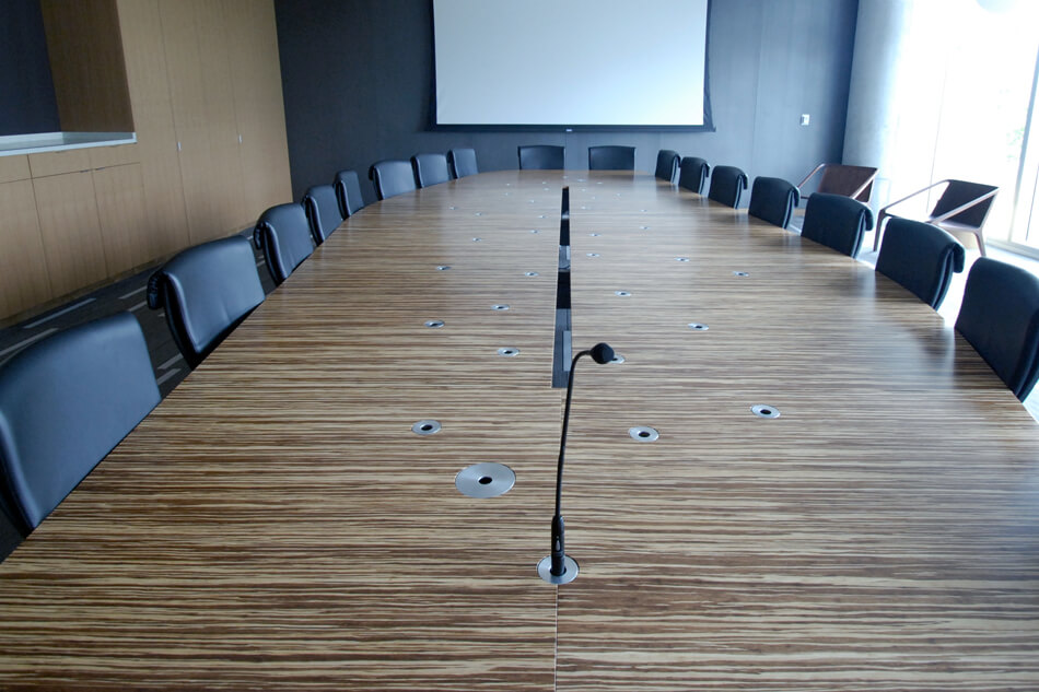 microphones on a conference table