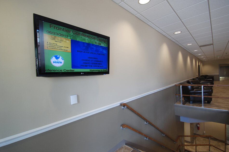 digital signage display at a conference center