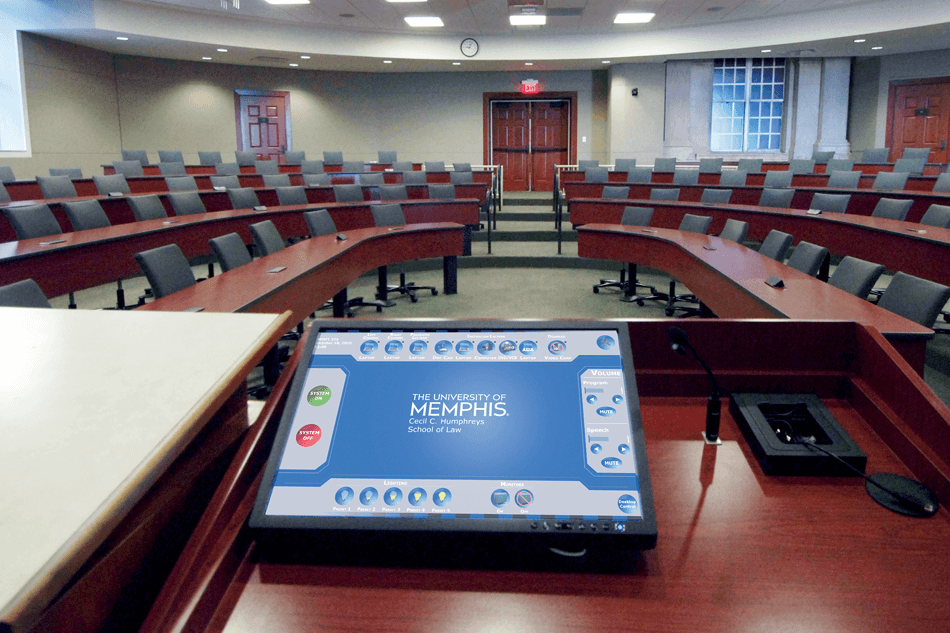 touch panel control for a university lecture hall