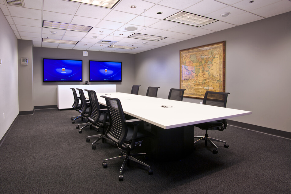 conference room with two displays