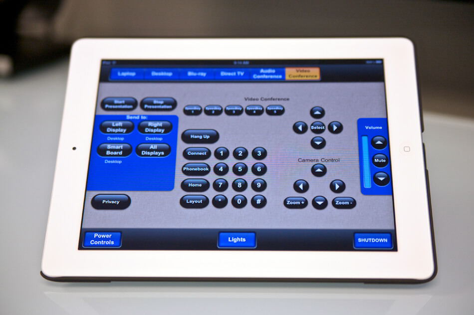 touch panel video conference control