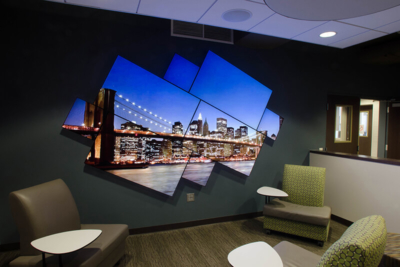 video wall in office, hotel lobby