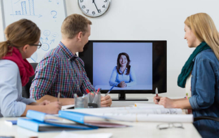 4 people gather for a video conferencing study session