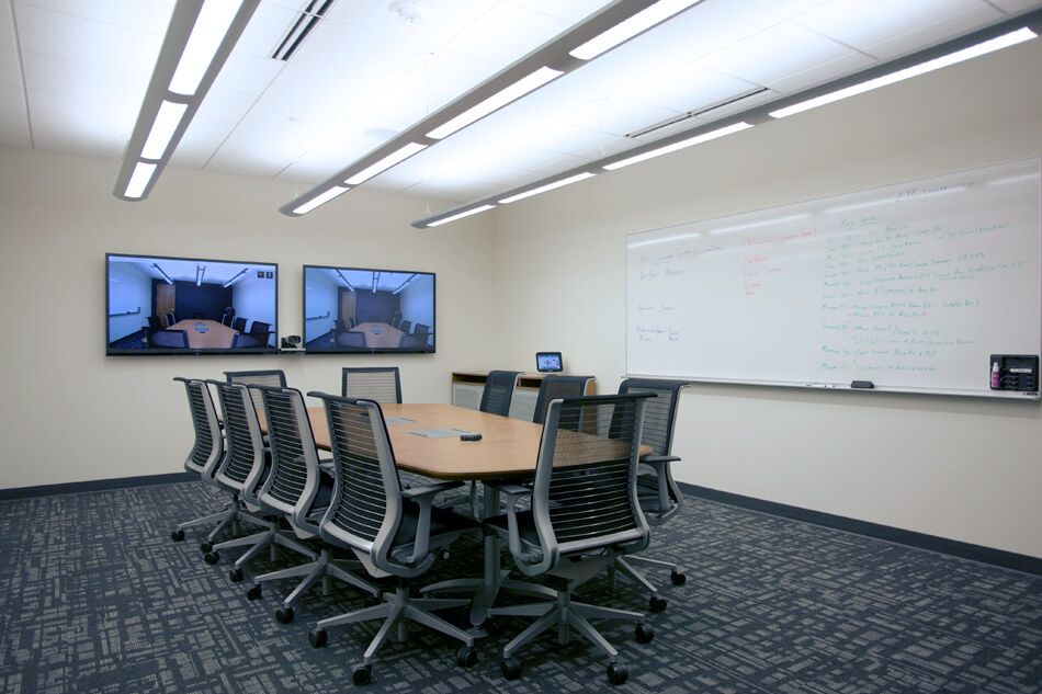 meeting room with two displays and touch panel control