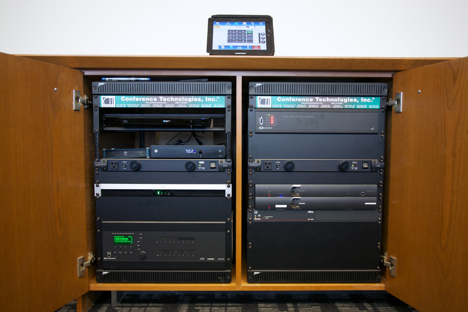 AV equipment in a credenza