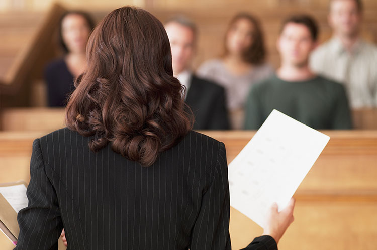 lawyer presenting a case to a jury