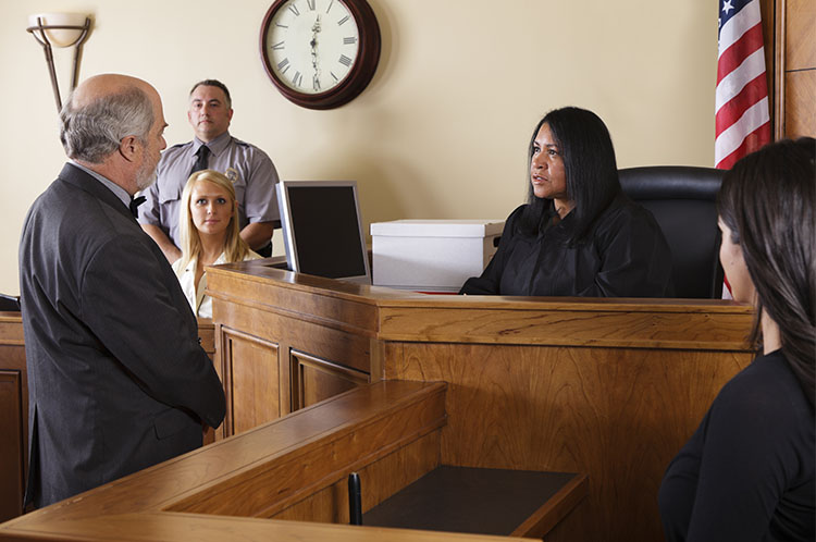 Judge hearing a witness