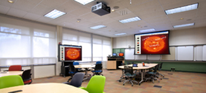 Screen and projector in classroom