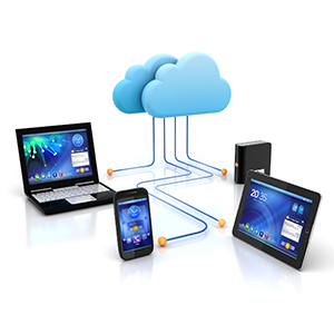 tablet, phone and laptop all connected to a cloud