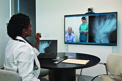 Doctors having a video conference
