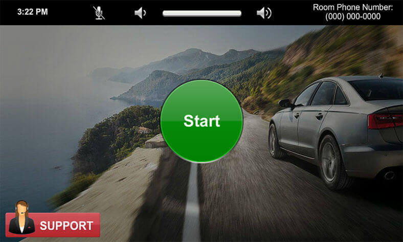 Touch panel screenshot. This is the start page, where a user can press the start button to begin.