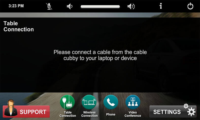 Touch panel screenshot. This is the table connection screen, where a user can display the table connection on the display