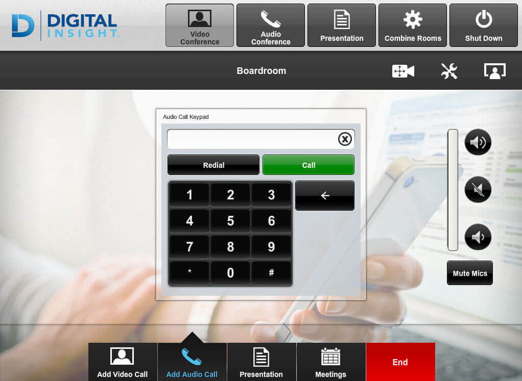 Touch panel screenshot. This is the audio conference page, where a user can dial a phone number.