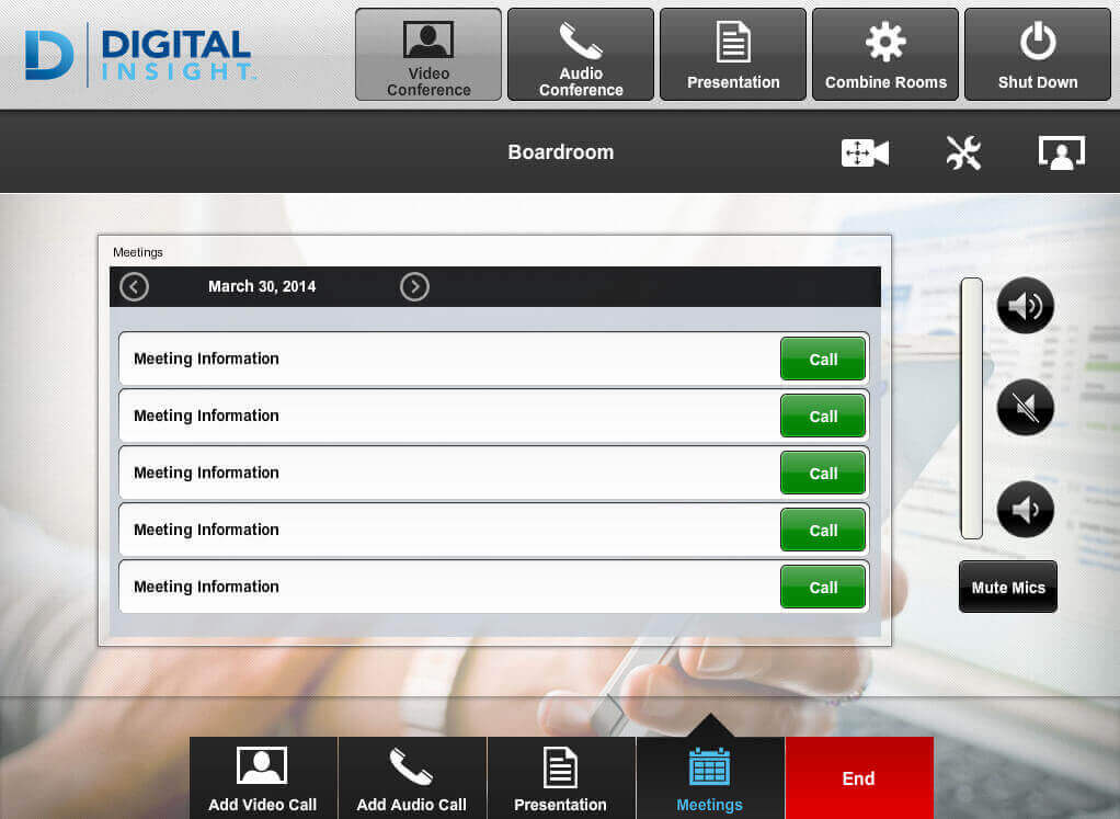 Touch panel screenshot. This is the video conference contacts page, where a user can select a contact to video call