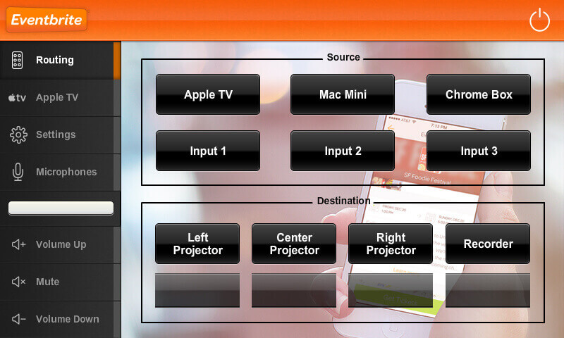 Touch panel screenshot. This is the presentation screen, where a user can select which computer is displayed on multiple displays.
