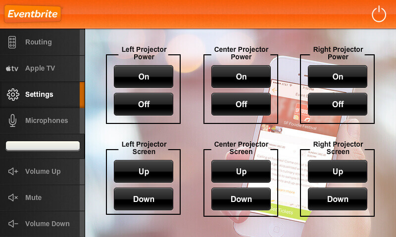 Touch panel screenshot. This is a page where a user can control the power of the projectors in the room