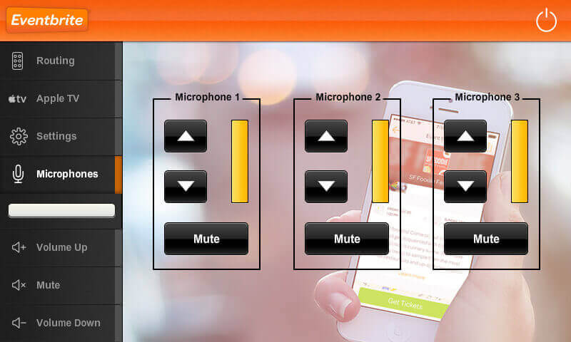 Touch panel screenshot. This is a page where a user can control the mic volume of a space.