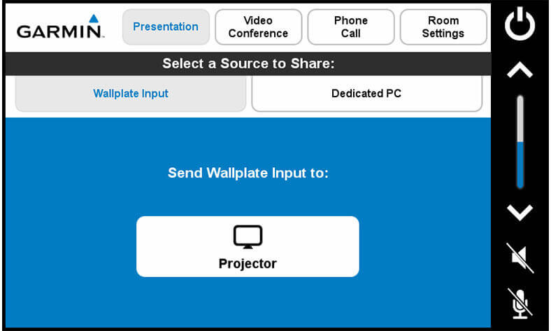 Touch panel screenshot. This is the presentation screen, where a user can send the wallplate input to the projector.