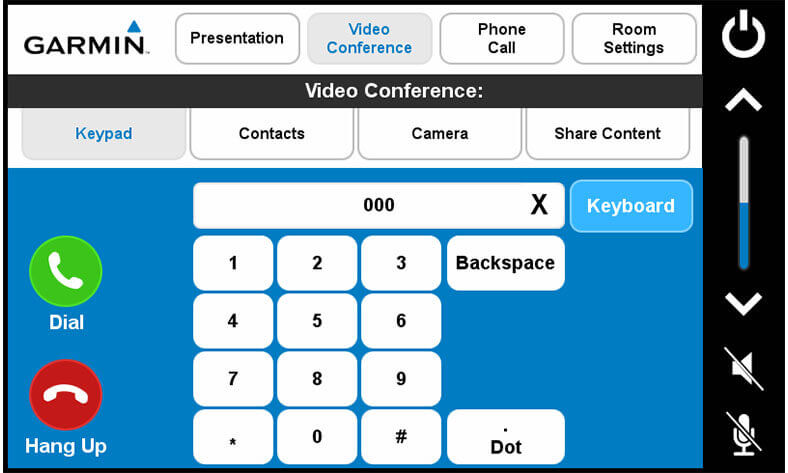 Touch panel screenshot. This is a video conference screen, where a user can control a video conference.