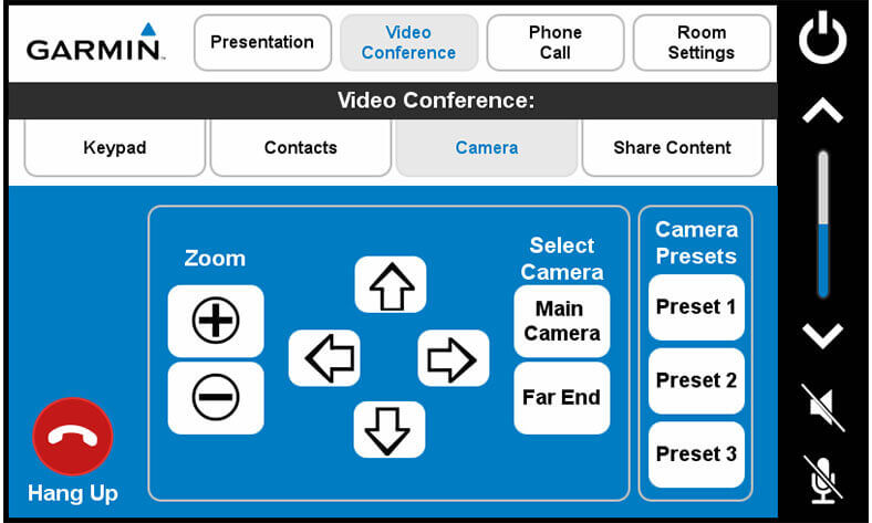 Touch panel screenshot. This is the camera page, where a user can adjust a VTC camera.
