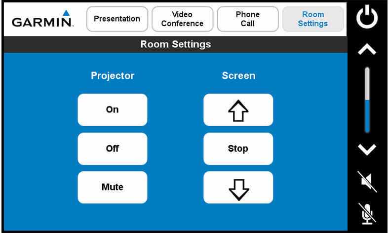 Touch panel screenshot. This is a screen where a user can control the projector power and move the screen up or down.