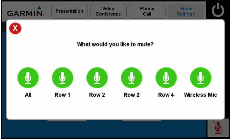 Touch panel screenshot. This is a page where a user can select which mic in the room to mute or unmute..