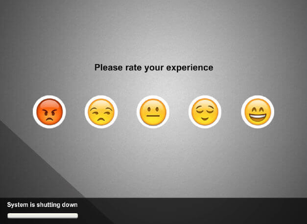 Touch panel screenshot. Five buttons with different emojis where a user can rate their experience.