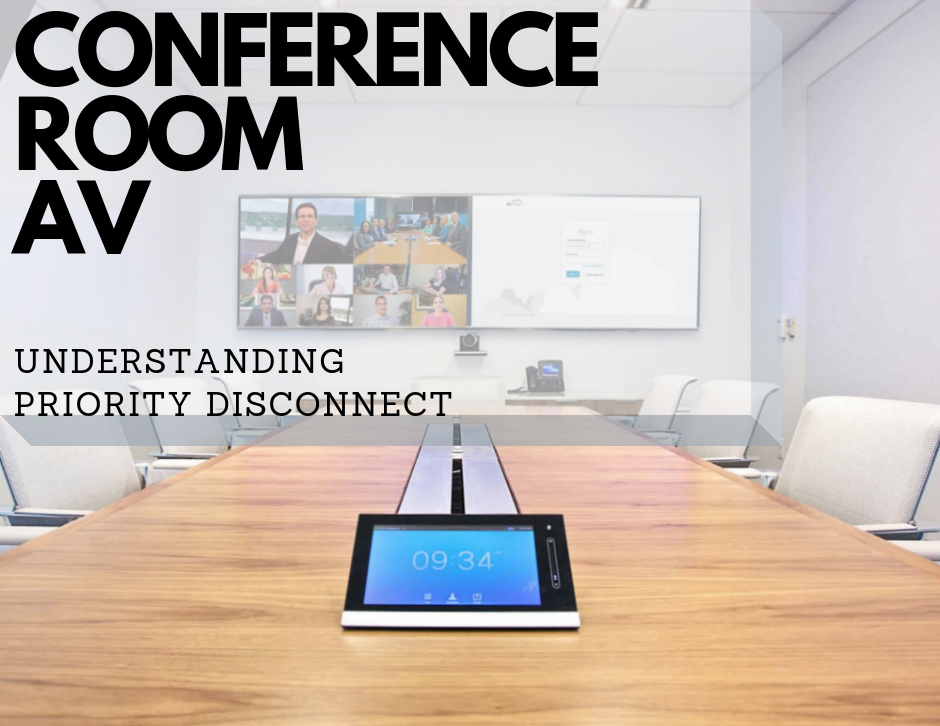 conference room text: conference room av understanding priority disconnect. long table with chairs and video screens