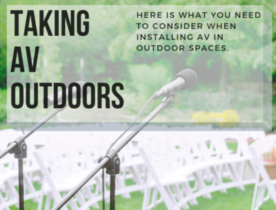 taking AV outdoors: top considerations - outdoor wedding set up with microphone
