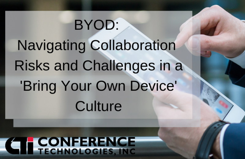 """title text over photo of a person using a tablet device, """"BYOD: Navigating Collaboration Risks and Challenges in a """"Bring Your Own Device Culture"""""""