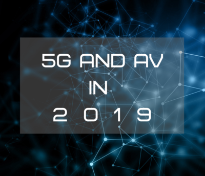 title text over abstract pattern, blue, How 5G will Spur AV Technology This Year