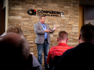 John Loughlin hosts Conference Technologies live town hall virtual meeting