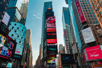 interactive and igital signage displays in time square, advertising