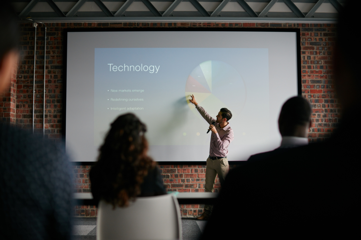 Shot of a businessman giving a presentation to his colleagues