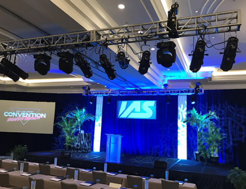 Dual screen projections with truss, drape, set design and backdrop
