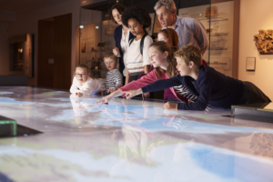 digital map screen at museum, interactive AV