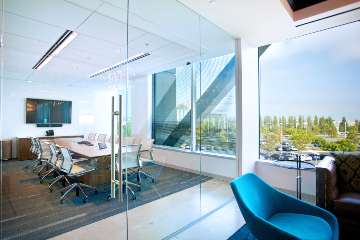 AV Design, light conference room with glass walls, table