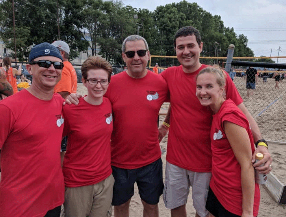 CTI employees at a volleyball game