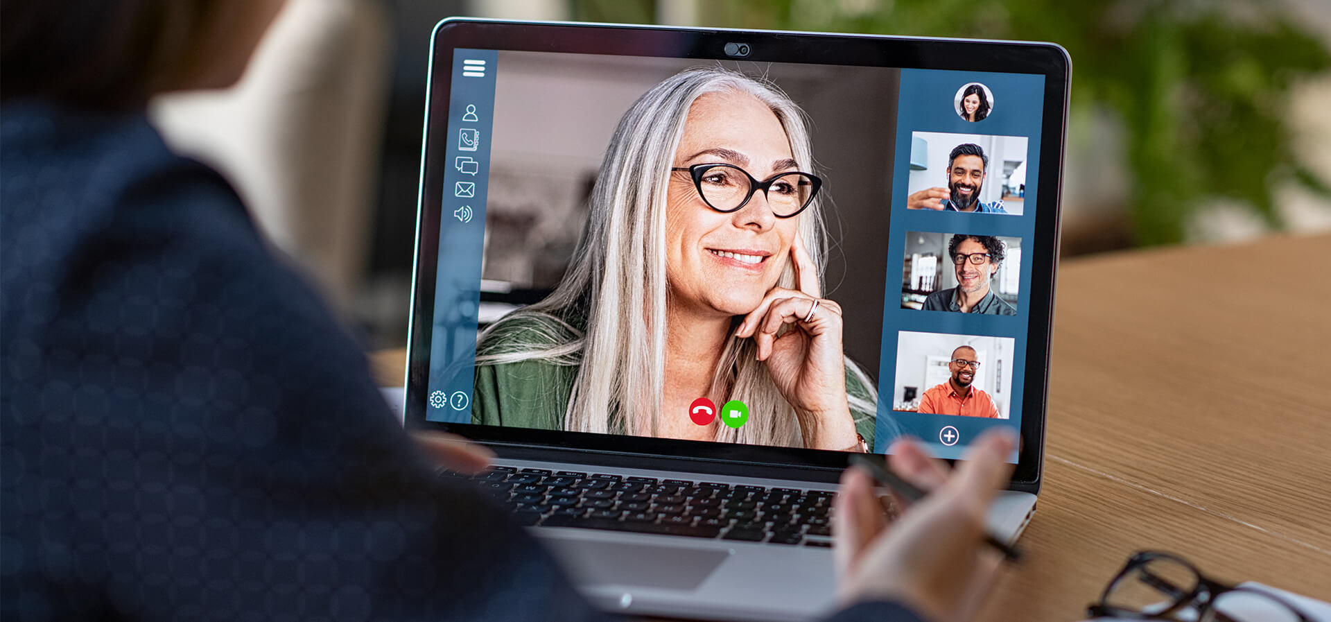 person interacting with a video conference call