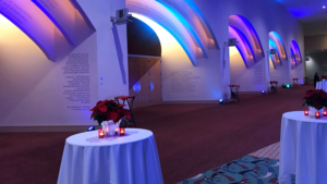 foyer with custom lighting for an event