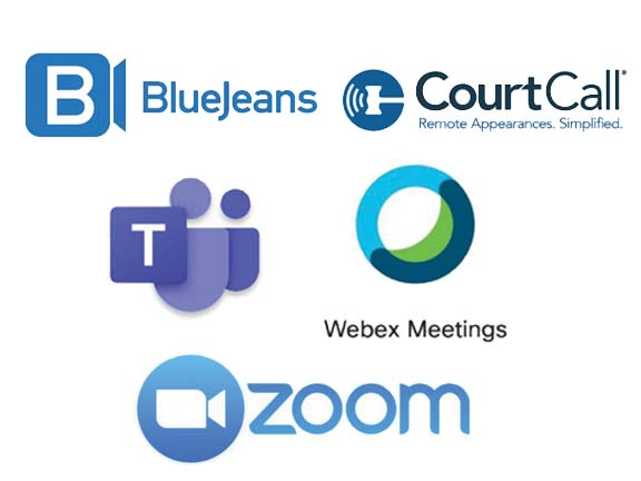 BlueJeans, CourtCall, Microsoft Teams, Webex Meetings and Zoom logos