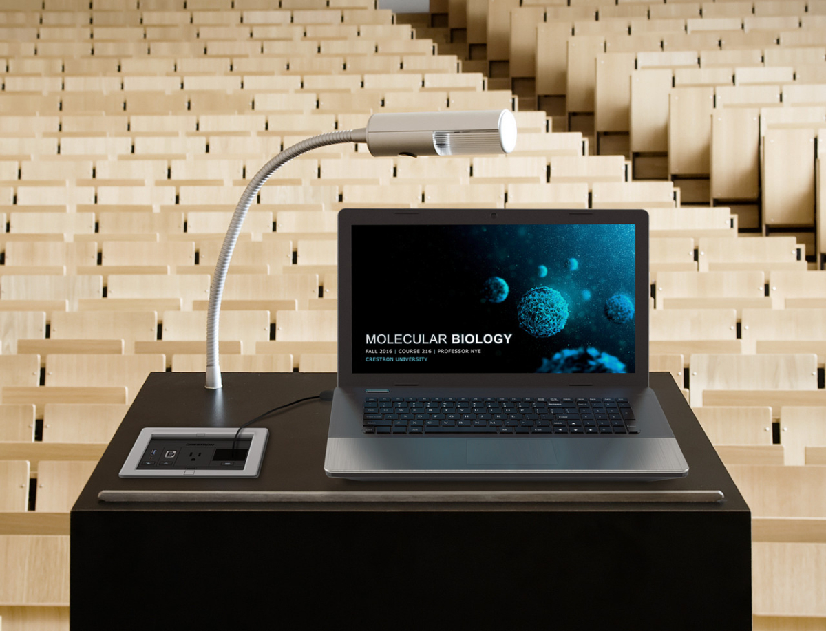 lectern with a fliptop cable management system