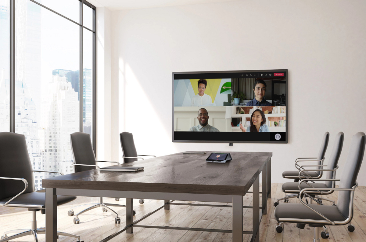 video conference in a conference room