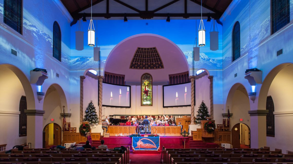 Church with image of mountains projected onto walls