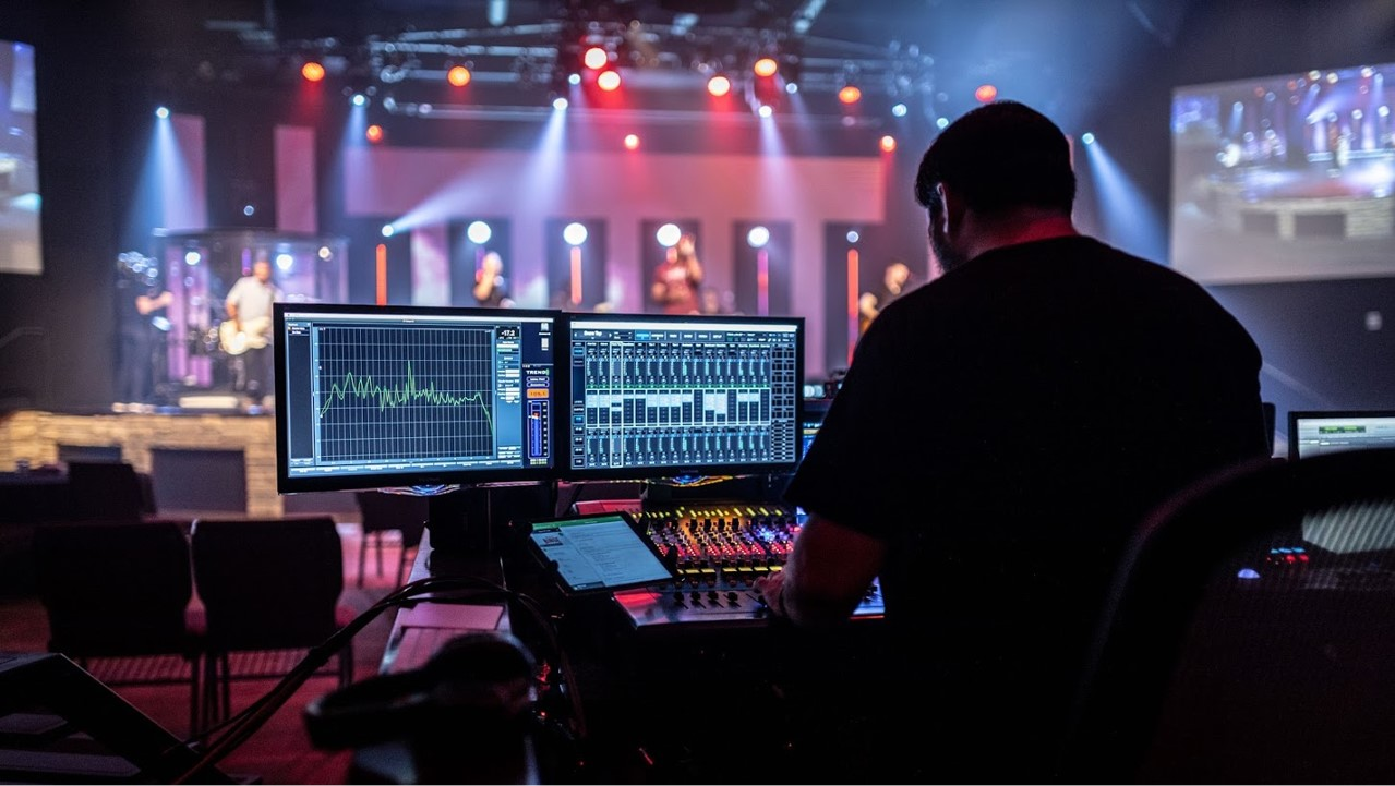 man sound mixing for a musical performance